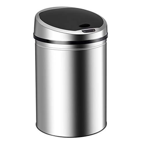 Ribelli Edelstahl Mülleimer - Abfalleimer mit Sensor - automatisches Öffnen und Schließen - Klemmring für Müllbeutel - Abnehmbarer Deckel - mit LED-Funktionsanzeige (Chrom, 40 Liter)