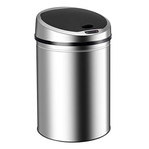 Ribelli Edelstahl Mülleimer - Abfalleimer mit Sensor - automatisches Öffnen und Schließen - Klemmring für Müllbeutel - Abnehmbarer Deckel - mit LED-Funktionsanzeige (Chrom, 50 Liter)