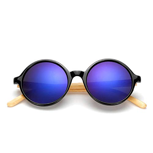 TSP Accesorios de ropa Unisex Vintage Retro Round UV400 Gafas de sol de bambú hechas a mano (color: azul)