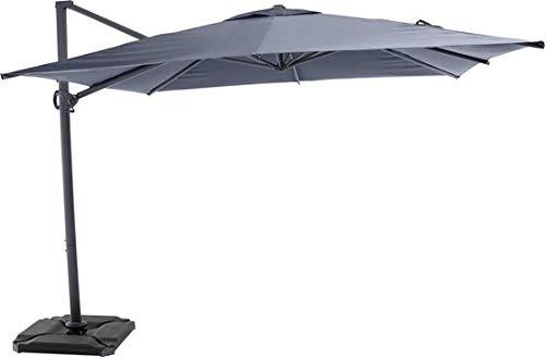 SORARA Solar Sombrilla | Gris | 300 x 300 cm | Incl. Luces, y USB | Cuadrado de protección Solar de Jardín