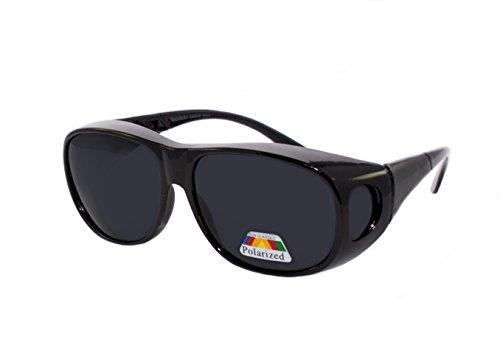 rainbow safety Überbrille Sonnenbrille für Brillenträger Schutzbrille für Sport Radfahren Skifahren Angeln Auto Nachtsichtbrille Polarisierte Gläser RWN10 (Sonnenbrillen Schwarz)