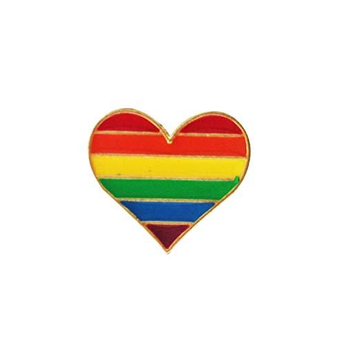 htrdjhrjy Desirable Süß Regenbogen Herz Emaille Brosche Pins Gay Pride Metall Abzeichen Anstecker Pins Jeans Hut Kragen Schmuck - H04