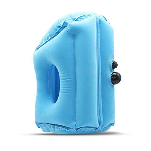 PLHMS Aufblasbare Reisekissen, Reisekissen Schlafmittel, PVC Beflockung Stoff, für Flugzeuge Züge Busse und Büro Napping,BlueLarge