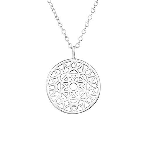 Laimons Collar de mujer con colgante de 10 mm con cadena de 45 cm, diseño de mandala brillante, plata de ley 925