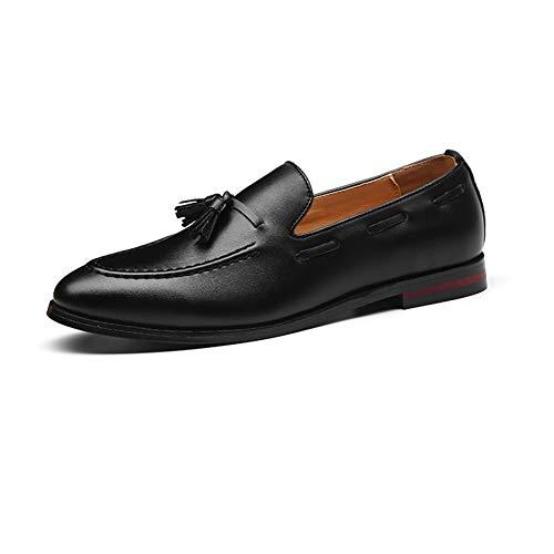 NXY Herren Leder Quaste Loafer Clever Mokassin Eben Schlüpfen Komfort Beiläufig Schuhe,Schwarz,46 EU
