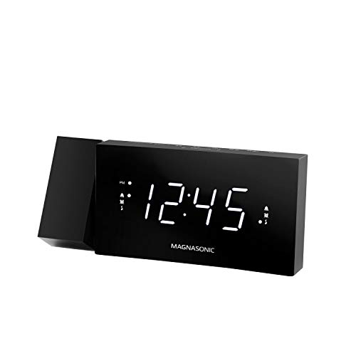 "Magnasonic Alarm Clock Radio with USB Charging for Smartphones & Tablets, 180 Degree Time Projection, Dual Alarms, 1.2"" Curved LED Display with Dimmer, Snooze Function, and Sleep Timer (CR20)"