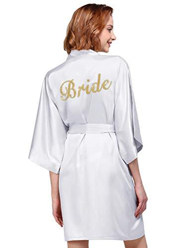 AW Womens Hochzeit Party Robe Premium Satin Kimono Braut Brautjungfer Geschenk Bademantel, Weiß, XL