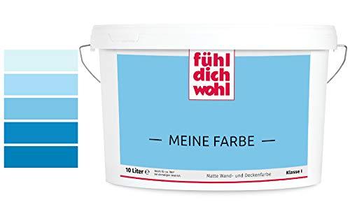 Fühl Dich Wohl Meine Farbe blau, matte Wandfarbe blau, hohe Deckkraft, verschiedene Blautöne zur Auswahl (2,5L, Taubenblau E14-3)