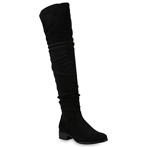 Damen Overknees Stiefel Leicht Gefüttert Schuhe Wildleder-Optik 147586 Schwarz Basic 36 Flandell