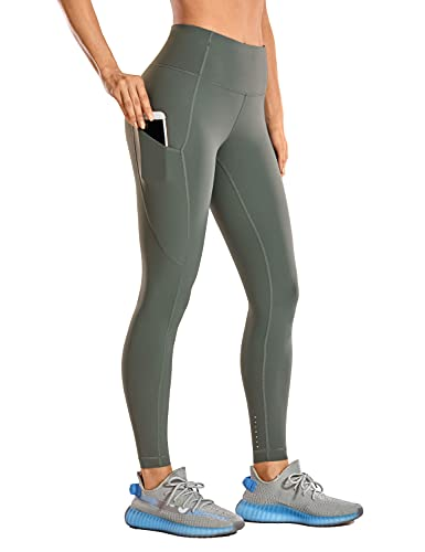 CRZ YOGA Women's High Waisted Yoga Pants with Pockets Workout Leggings - 25 Inches Grey Sage 25'' Medium