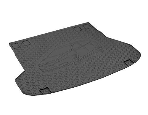 Passgenau Kofferraumwanne geeignet für KIA Ceed SW/Kombi ab 2012 ideal angepasst schwarz Kofferraummatte + Gurtschoner