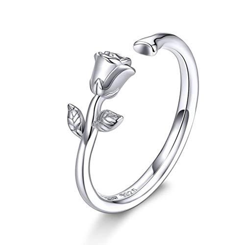 Wopohy Anillo abierto de plata de ley 925 para mujer, diseño de rosas y flores ajustables, ideal como regalo para el día de San Valentín, aniversario, cumpleaños, regalo de joyería