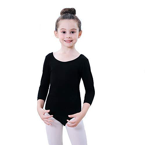 Soudittur Kinder Ballettanzug Baumwolle 3/4 Langarm Ballett Trikot Tanz-Body Turnanzug für Mädchen (Schwarz, Tag 140(Höhe: 135-145 cm))