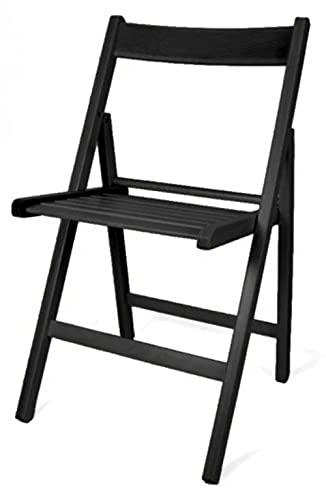 Silla Plegable Madera Color Negro (Precio por Unidad)
