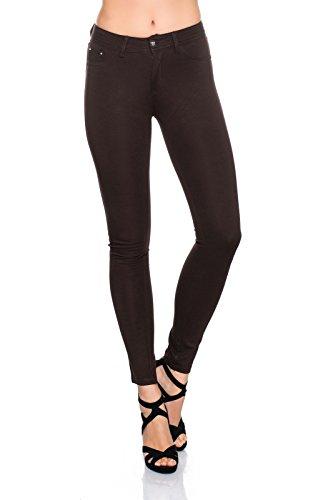 Freyday Modische Damen Jeggings Leggings Hüfthose Stretch Slimfit (M, Dunkelbraun)