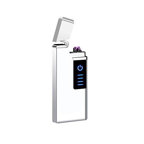 電子ライター USBライター 充電ライター プラズマ放電式 プラズマ着火 防風 無火炎 風防付き 強風でも使い 軽量 薄型 残りのバッテリーを示すLED 誕生日プレゼント (Silver)