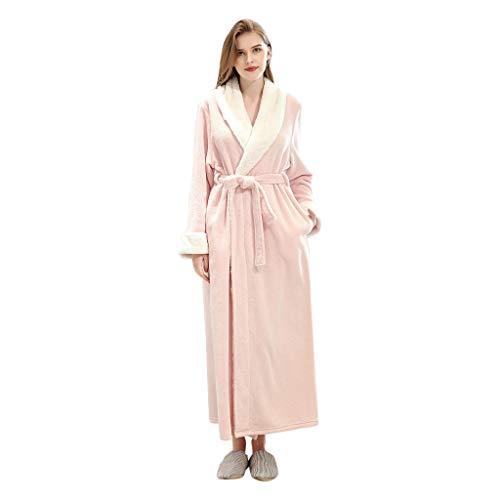 Dasongff Montana badjas met capuchon, coral fleece, ochtendjas, badstof, dames en heren, saunamantel lang nachthemd, pyjama, nachtkleding Medium roze/dames.