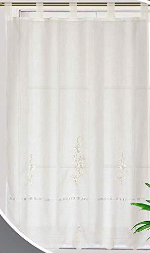 Forentex Cortinas Cocina 150x180cm Bordadas Florales Decorativos Para Ventanas, Polyester, L-1041, L