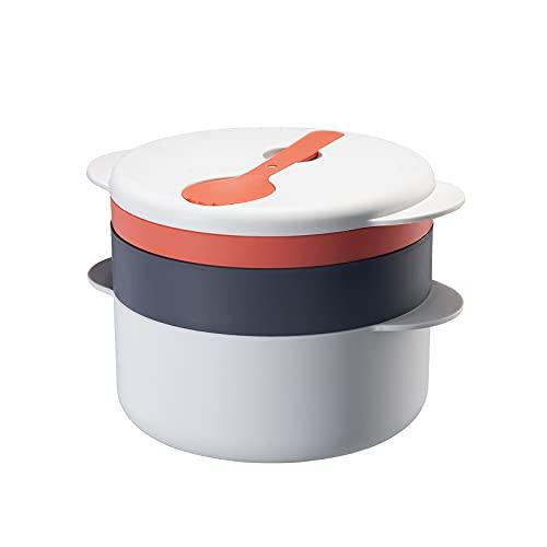 UNISOPH Juego de Cocina para microondas, Olla de Vapor Multifuncional, Cocina rápida simultánea, diseño de Mango biauricular con Tapa para cocinar en casa