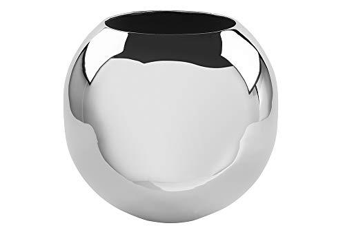 Fink Vase Moon - Metall vernickelt glänzende Silberne Oberfläche H 16 cm