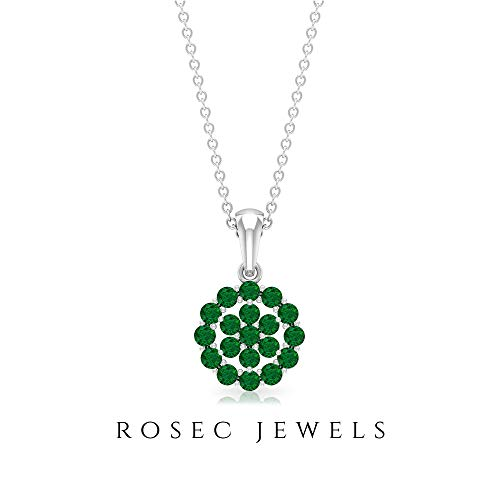 Cluster Pendant Necklace, 0.76 CT Round Shaped 2 MM Emerald, Floral Pendant, Gemstone Jewelry, Gold Pendant, Birthday Gift for her, 18K White Gold Without Chain