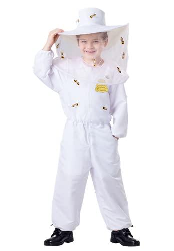 Disfraz de apicultor para nios para nios - Blanco Bee Keeper Dress Up: incluye un mono y un sombrero con velo adjunto