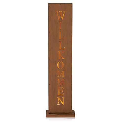 Hoberg dekoratives LED Schild mit Willkommen-Schriftzug in Rost-Optik | Ideal vor dem Hauseingang oder drinnen | Wetterfest, 8h Timer [78 cm Höhe]