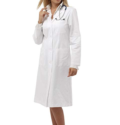 tessile astorino Bata sanitaria de trabajo blanca – uniforme de manga larga para mujer – Bata de laboratorio para doctora, médico, estructura sanitaria, enfermera, veterinario Color blanco. L