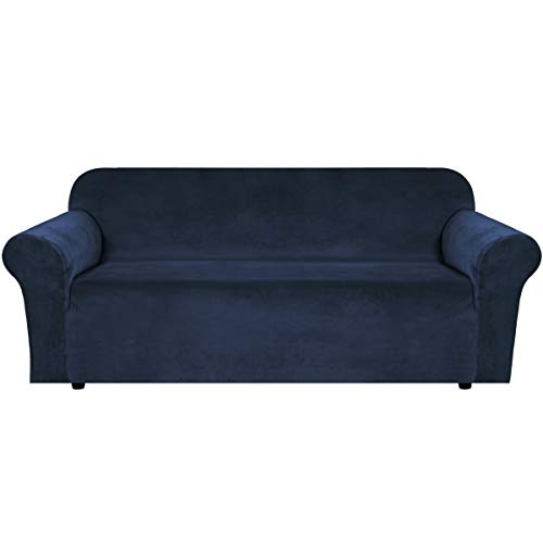 """H.VERSAILTEX Stretch Velvet Sofa Covers Large Couch Covers Sofa Slipcovers with Non Slip Straps Underneath The Furniture, Feature Thick Comfy Rich Velour (Extra Wide Sofa 96""""-116"""", Navy)"""