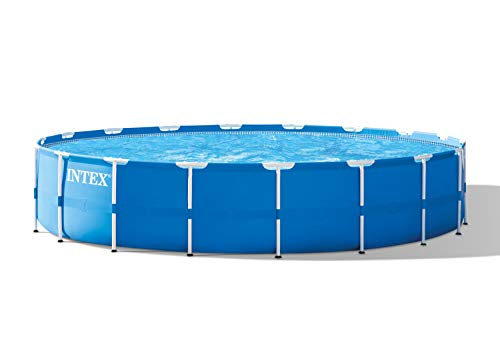 Intex Metal Frame Pool Set with Filter Pump, Ladder, Ground Cloth, and Pool Cover – 18 ft. x 48 in.