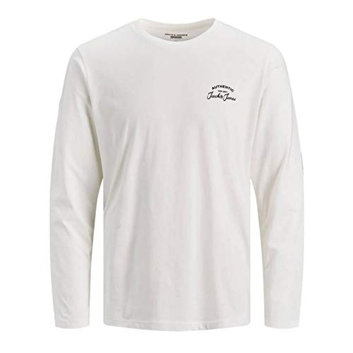 Jack & Jones JJHERO tee LS Crew Neck Camiseta, Cloud Dancer, L para Hombre