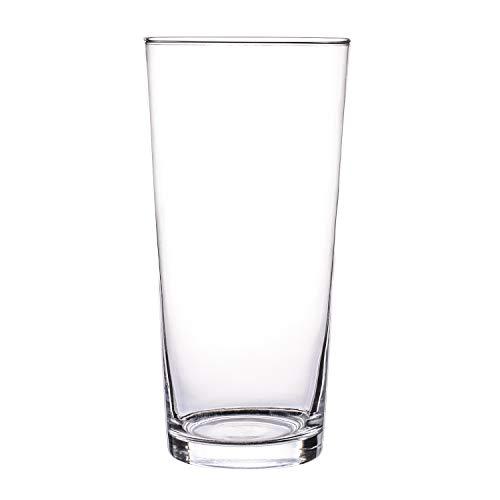 Glasvase, Transparent, KnikGlass Vase Glas Deko Blumenvase für Tischdeko und Hochzeit, Höhe 25 cm (#C)