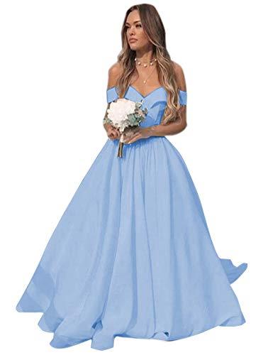 Ci-ONE Satin Wedding Dress Long Prom Dress Off Shoulder Evening Dress with Train Light Blue, 4