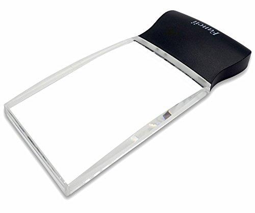 FC Optics LED 2X großes rechteckiges Leselupe Handlupe mit Licht - 102 x 58 mm randlose unverzerrte Lupe mit Beleuchtung geeignet für Senioren, zum lesen von Büchern, Magazinen, Zeitungen
