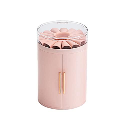 Caja de joyería cilíndrica con 5 niveles de flores superior redonda organizador de maquillaje para sostener lápiz labial, aretes de brillo de labios, anillos, collares y pulseras