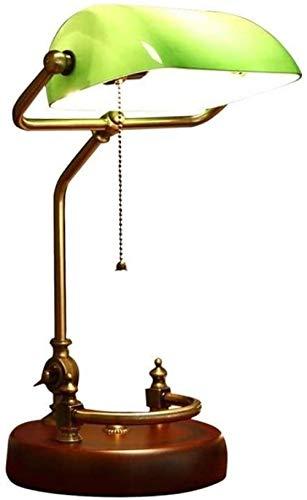 Lámparas de mesa, Retro Bankers Lámpara de escritorio de vidrio 44Cm Lámpara de mesa de estudio vintage Accesorio de iluminación Cubierta verde Sombra Lámparas de escritorio Madera antigua