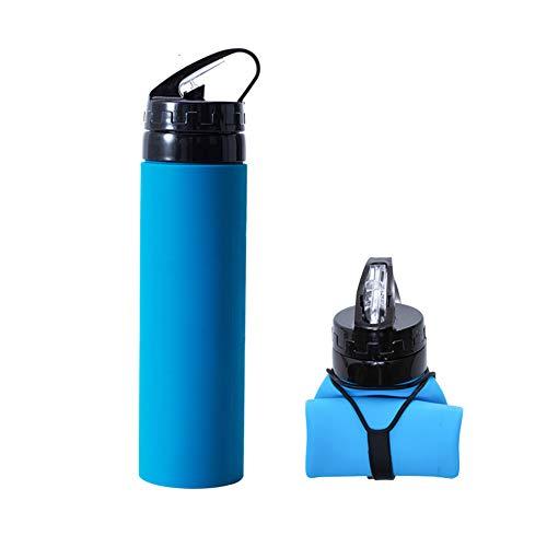 Lekvrije opvouwbare reisbeker – BPA-vrij, inklapbaar, food-grade siliconen waterfles voor kamperen, wandelen, joggen 600ml(21oz) blauw-A