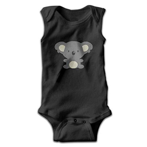 Cartoon Koala Divertido Bebé Mono sin Mangas Mameluco Negro