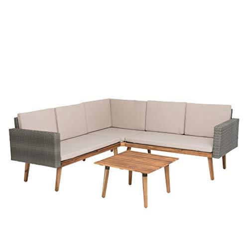 ESTEXO Polyrattan Lounge grau, Tisch Plus Sofa inklusive Polster, aus Halbrund Polyrattan/Akazienholz