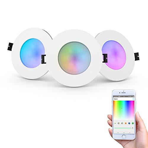 iHomma LED Smart Spot Encastrable LED IP65, Télécommande,Contrôle d'APP par Bluetooth, Dimmable Cool Blanc Chaud Multicolore RGB, Encastrable Spot Lumière Bicolore pour Salon Chambre,6W 350LM