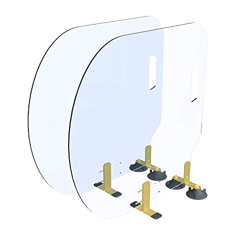 BARTITION Standard (Patent Pending) Partition for Bar Top or Dining Countertop Sneeze Guard MADE IN USA out of Polycarbonate Window SBR Suction Cups Brass 260 Brackets (2 pack)