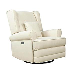 Evolur Phoenix Upholstered Wing Back Power Recliner I Nursery Glider I Durable Soft Fabric I Bonus Pillow I Electronic Recliner and Swivel Glider