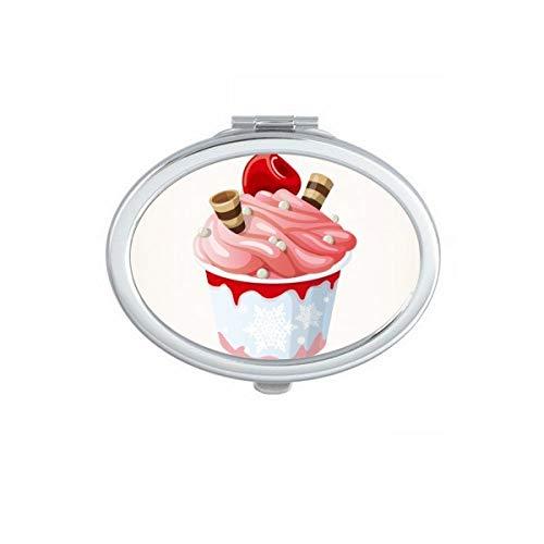 DIYthinker Rose saveur de Cerise Douce crème glacée Ovale Compact Miroir de Maquillage Portable Mignon Miroirs de Poche à la Main Cadeau Multicolore