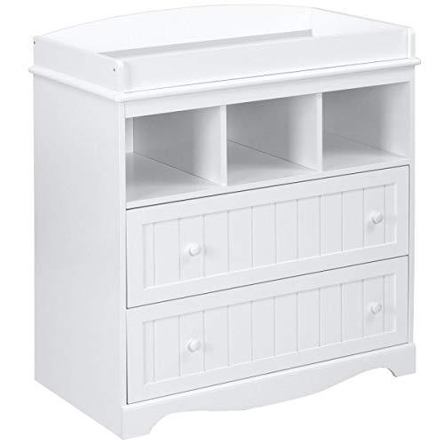 Mueble cambiador de mesa con 2 cajones y 3 estantes, 93 x 50 x 88 cm, color blanco