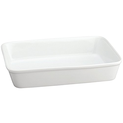 HIC Oblong Rectangular Baking Dish Roasting Lasagna Pan, Fine White Porcelain, 13-Inches x 9-Inches x 2.5-Inches, 13 x 9
