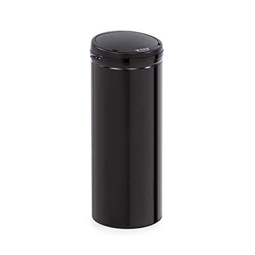 Klarstein Cleanton cubo de basura con sensor - 50 litros de volumen, redondo, sin tocarlo: apertura y cierre automáticos, soporte para bolsas de basura, tapa de plástico/cubo de acero, negro