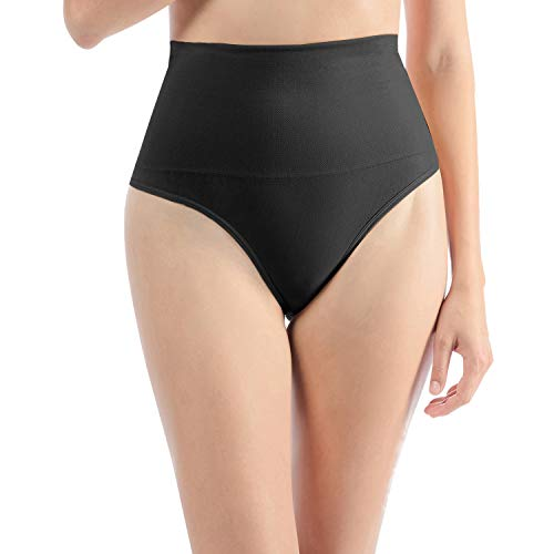 Libella Damen Hohe Taille Miederslip Shapewear Bauch Kontrolle String Tanga Figurformende Miederhose Unterwäsche 3612 Schwarz S/M