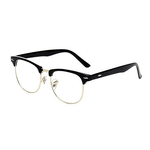 Shiratori New Vintage Fashion Half Frame Semi-Rimless Clear Lens Glasses Gold
