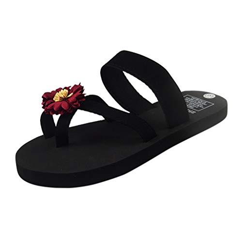 Dorical Damen Flip Flops Zehentrenner Sandalen Sommer Hausschuhe,Strandschuhe Flach Freizeitschuhe Sommerschuhe Blumen Schuhe für Mutter 36-41 EU(Z2-Rot,38 EU)