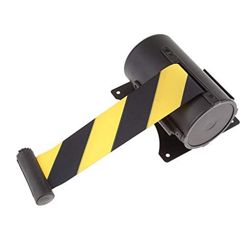 5m Cinta de Retráctil Cinturón de Seguro para Montaje en Pared - Negro y Amarillo - Negro y amarillo